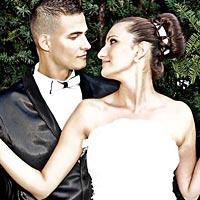 Romantický svadobný portrét.