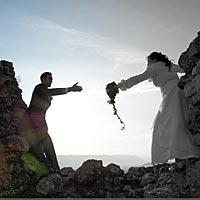 Svadba foto na zrúcaninach hradu.