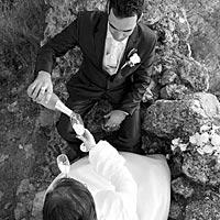 Umelecké Svadba foto, prípytok na Turnianskom hrade.