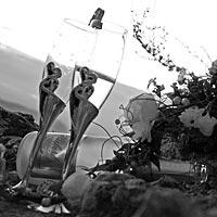 Umelecké Svadba foto - Svadobné poháre, svadobné kvety.